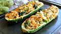 Cheesy Broccoli Chicken Zucchini Boats