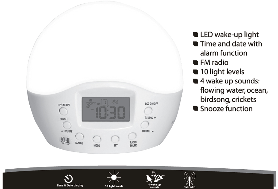 soleil sun alarm clock operator 39 s manual. Black Bedroom Furniture Sets. Home Design Ideas