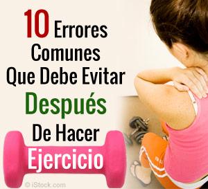 errores que debe evitar despues de hacer ejercicio