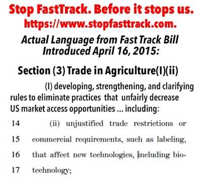 Stop fast Track Bill