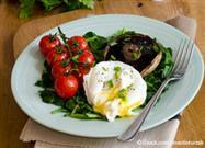 Poached Eggs over Collards with Fresh Mushrooms