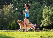 human and dog exercising