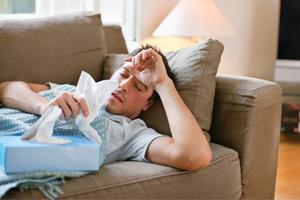 독감에 걸린 사람