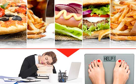 체중을 늘리고 에너지를 고갈하는 음식