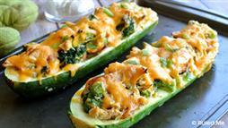 Cheesy Broccoli Chicken Zucchini Boats