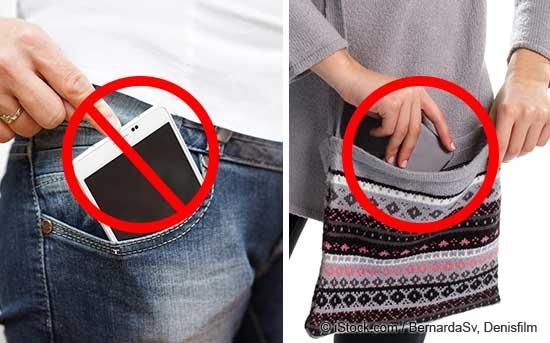 手机不能放在口袋内,而应放在钱包内