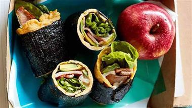Wonderful Egg, Bacon and Nori Roll Ups with Avocado and Lettuce Recipe