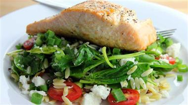 salmon, green leafy vegetables, and nuts