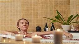 women taking warm bath