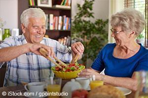 elder couple eating healthy foods