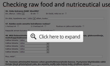 checking raw food questionnaire
