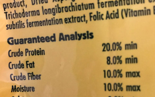 guaranteed analysis grain-free dog food