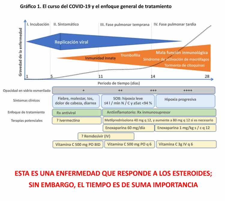 El curso del COVID-19 y el enfoque general de tratamiento