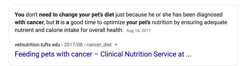 capture d'écran google cancer de l'alimentation pour animaux de compagnie