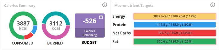 calories summary