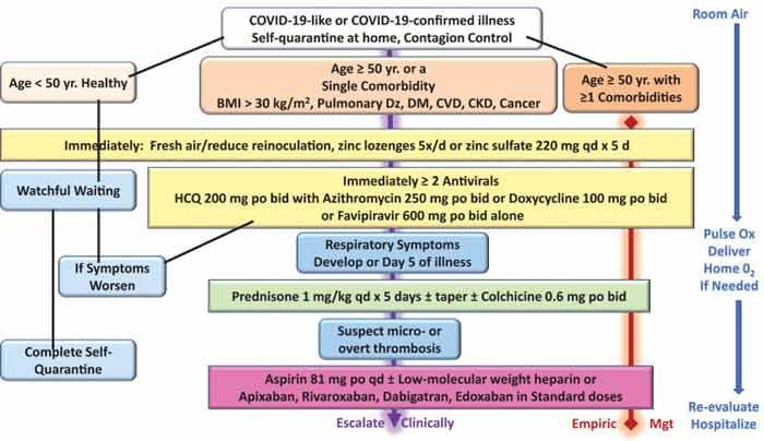 Treatment algorithm for COVID-19-like and confirmed COVID-19 illness