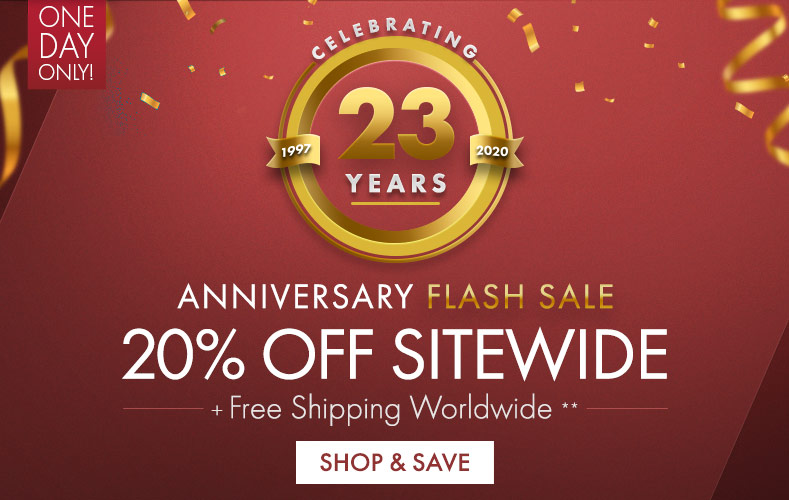 Get Anniversary Flash Sale 20% Off Sitewide