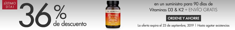 Obtenga 36% de descuento en un suministro para 90 dias de Vitaminas d3 and K2
