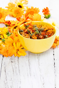 bowl of calendula flowers