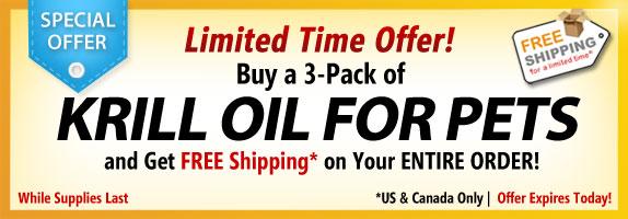 Offre d'une durée limitée! Commander un 3-pack de l'huile de krill pour les animaux de compagnie et d'obtenir une livraison gratuite sur toute votre commande!