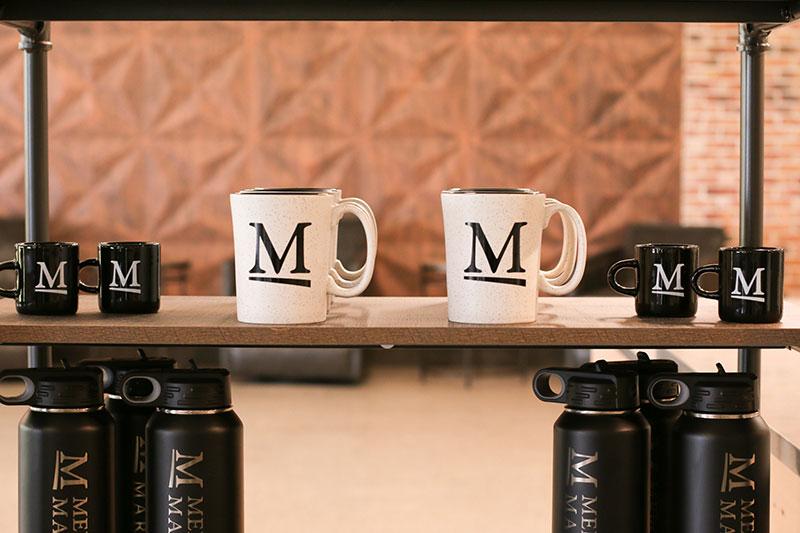 Mugs on shelf