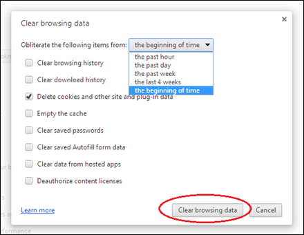 Deleting chrome browsing cookies step 2