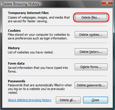 Deleting IE7 browsing history step 3