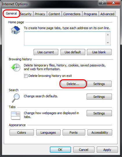 Deleting IE8 browsing history step 2
