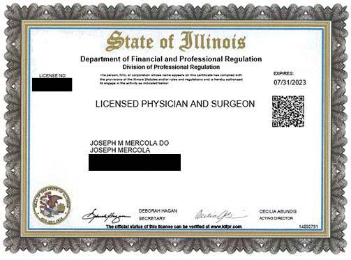 Dr. Mercola's License