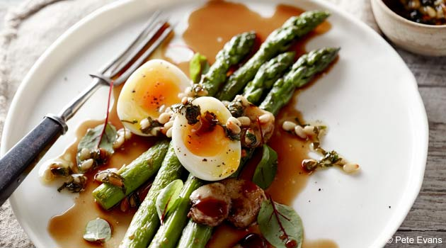 Delectable Asparagus With Soft-Boiled Eggs, Capers and Bone Marrow Broth