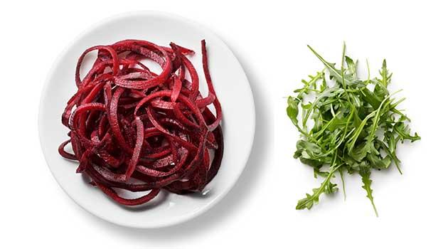Beet noodle arugula salad recipe