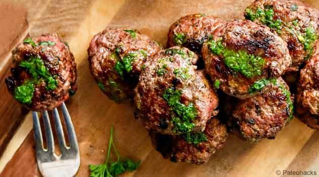 keto chimichurri meatballs