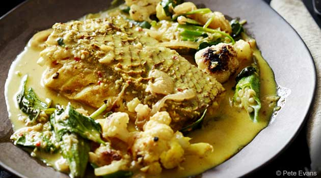 Savory Fish Curry With Roasted Cauliflower and Okra Recipe