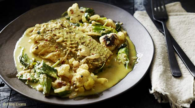 Quick Fish Curry With Roasted Cauliflower