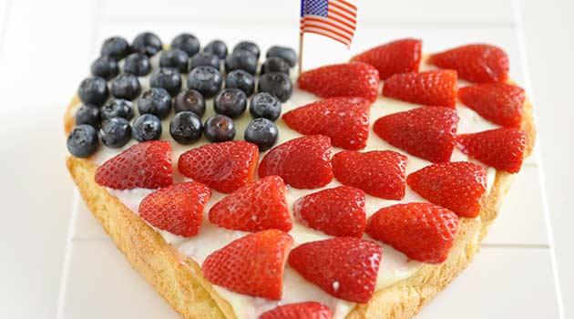Red, white and blue strawberry shortcake recipe
