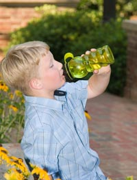 Boy with reusable water bottle