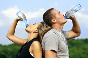 Drinking bottled water