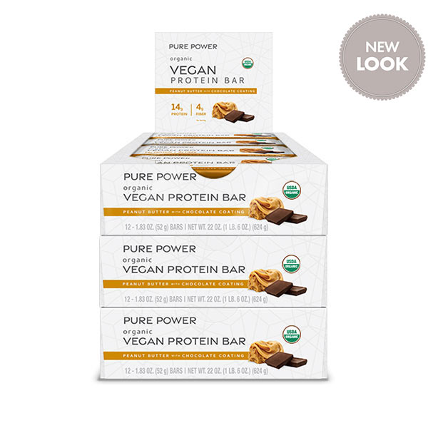 Organic Pure Power Peanut Butter Protein Bars (12 bars per box): 3 Boxes
