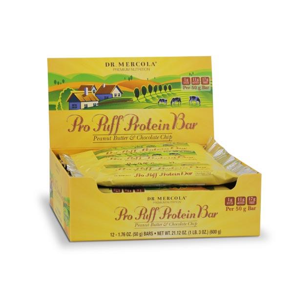Pro Puff Protein Bar Peanut Butter & Chocolate Chip (12 bars per box): 1 Box