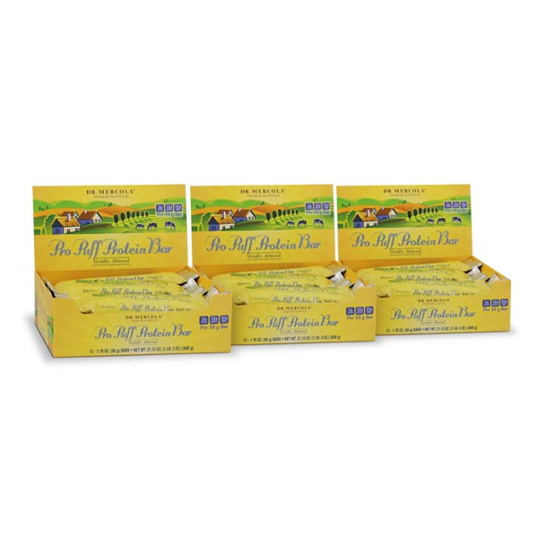 Pro Puff Protein Bar Vanilla Almond (12 bars per box): 3-Pack