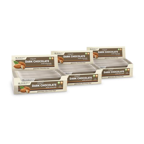 Barras de Chocolate Oscuro Vegano con Almendras (12 barras por caja): Paquete de 3
