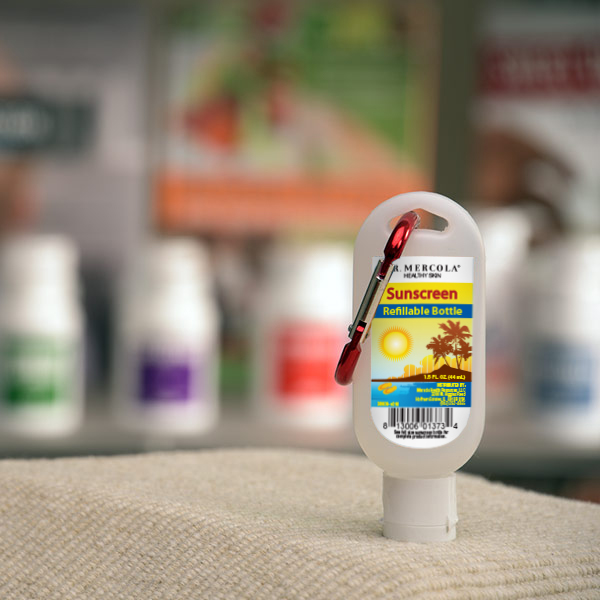 Sunscreen Empty Travel Bottle with Mercola Clip