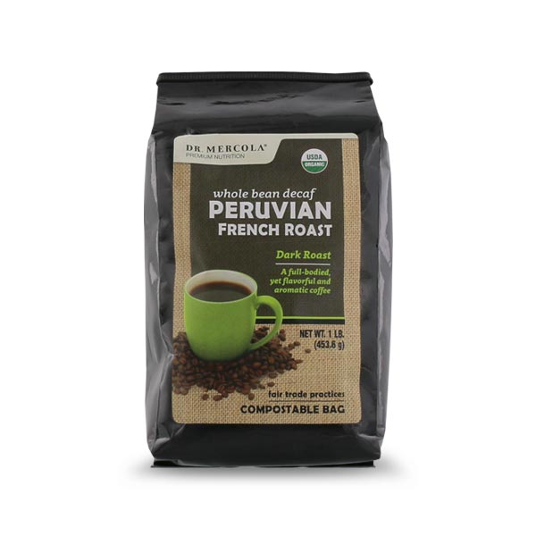 Organic Whole Bean Coffee - Peruvian French Roast Decaf (1lb): 1 Bag