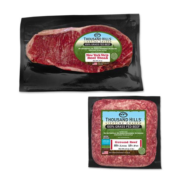 Paquete de Corte de New York Y Carne Molida de Animales Alimentados 100% con Pastura: 16 Paquetes