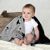 "SITO Organic Cotton Baby Blanket with Stars (32""x 39)"