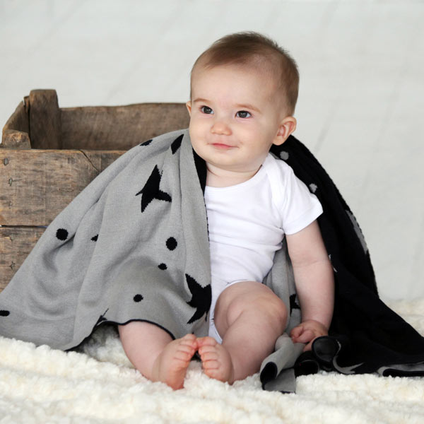 SITO Organic Cotton Baby Blanket with Stars (32x 39)