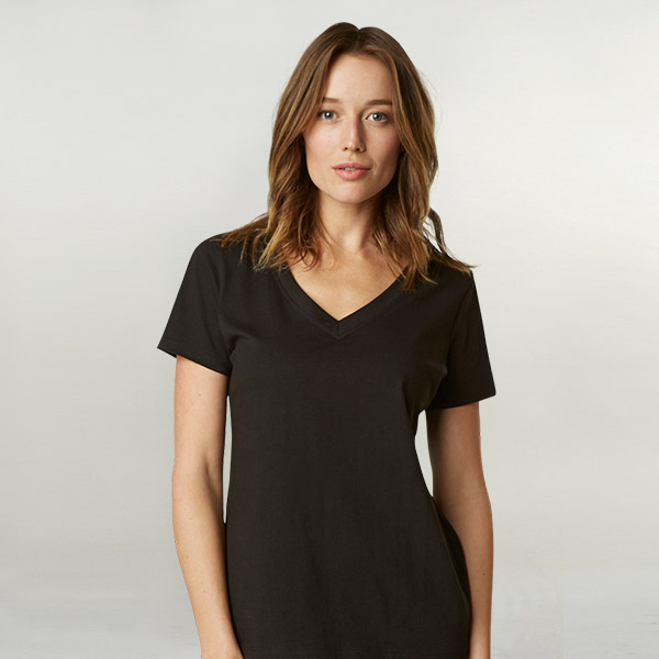 Women's SITO Organic Cotton Relaxed V-Neck T-Shirt: Black (S)