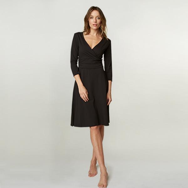 Women's Organic Cotton Wrap Dress: Black (S)