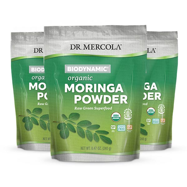 Organic Biodynamic Moringa Powder (8 46 oz ): 3 Jars