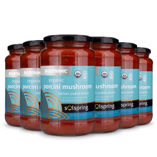 Solspring® Biodynamic® Organic Porcini Mushroom Italian Pasta Sauce (19.7 oz per jar): 6 Jars